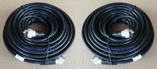 TWO PACK 50 ft RG8X coaxial coax cable UHF male PL-259 connectors ham radio NEW