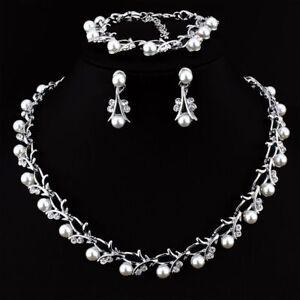 Crystal-Pearl-Dangle-Flower-Tassel-Necklace-Earring-BraceletSet-WeddingJewelry-g