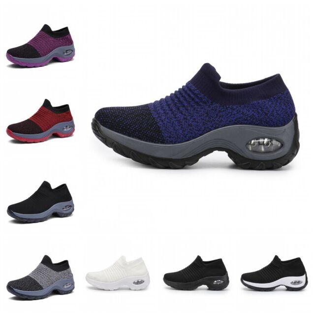 Damenslipper Netz Sneaker Ultraleicht Atmungsaktiv Rutschfest Komfort Dämpfung B
