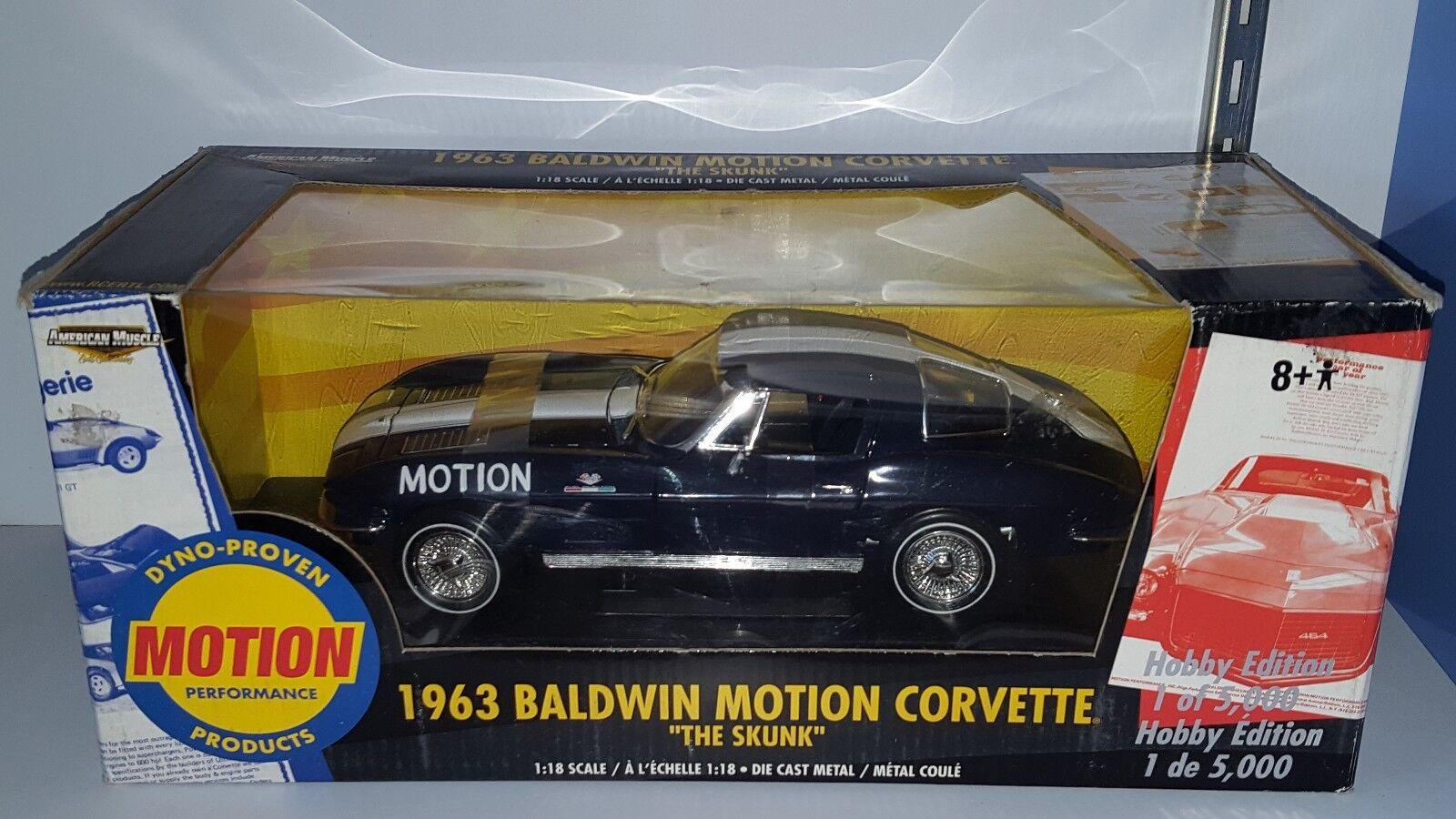 1/18 Ertl 2018 Baldwin Motion Chevrolet Corvette la mofeta Azul Oscuro YD