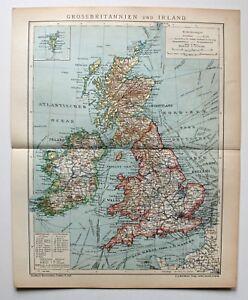 Grossbritannien-und-Irland-Alte-Landarte-von-1905-Lithographie