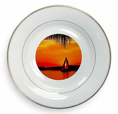 Sunset Sailing Yacht Gold Rim Plate In Gift Box Christmas Present, Sun-2pl