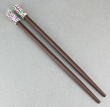 "Dk Brown crystal sequin wood set 2 hair chop sticks accessory picks pins 7/"" long"