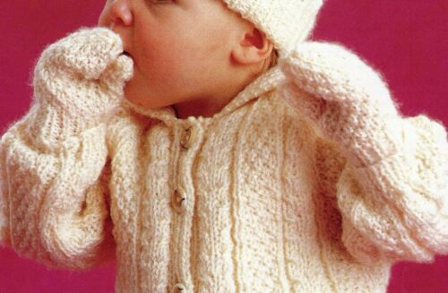 Hat /& Mitts 51//56//61 cm 141 Knitting Pattern Baby Boys Aran Cable Jacket
