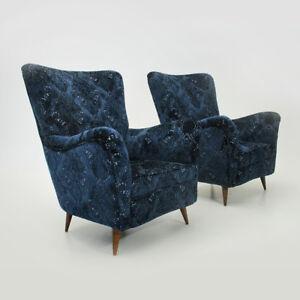 Poltrone In Velluto.Dettagli Su Coppia Di Poltrone In Velluto Blu Anni 50 Vintage Armchairs 50s Blue Italia