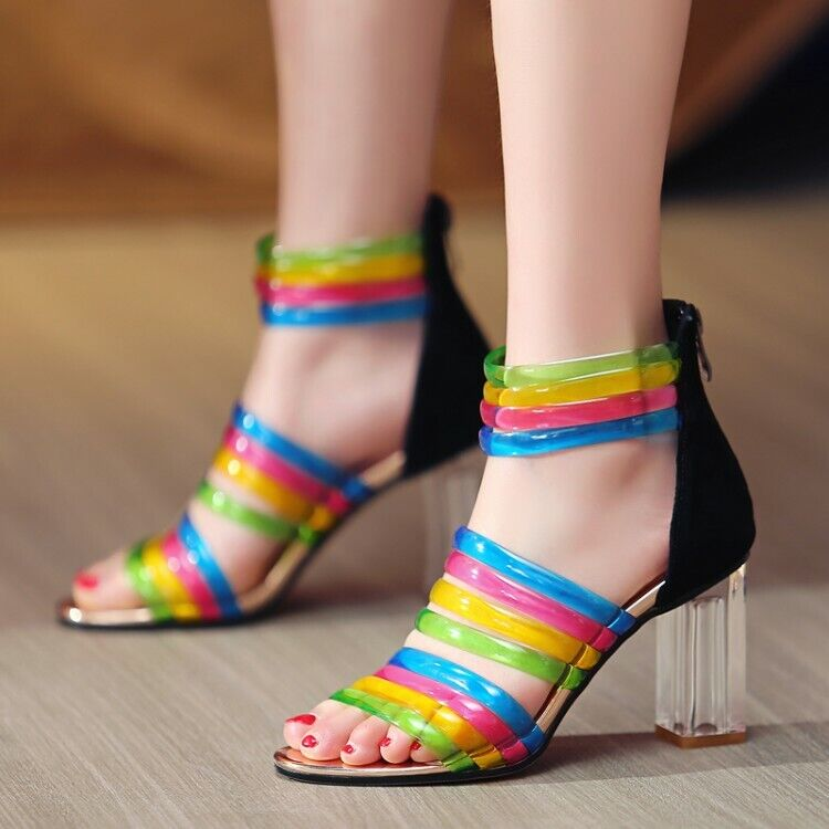 Donna Block Heels Sandals Leather Coloreeful Ankle Buckle Strap  Zipper Casual scarpe  vendita scontata