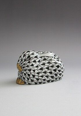Herend Sitting Bunny Rabbit Black Fishnet 15339