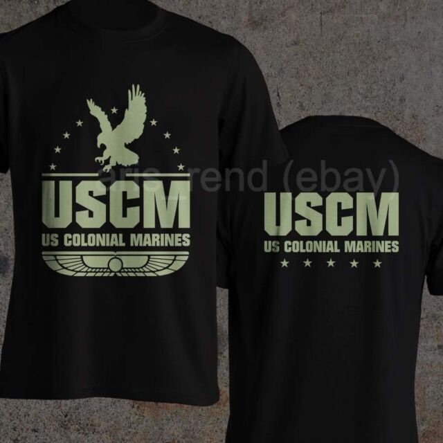 Aliens T-shirt U.S.Colonial Marines USCM Ripley ultimate badass skull movie dad