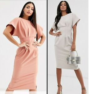 ASOS-DESIGN-60-Nipped-In-Waist-Midi-Pencil-Dress-Grey-Terracotta