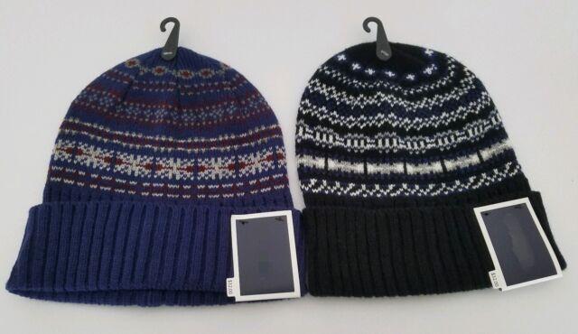 b19c2c4bb69f4 Club Room Men s Beanie Winter Hat Knit Cuffed Ski Cap Black Navy Fair Isle  New