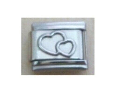 9mm Classic Size Italian Charms E117  Two Love Hearts Entwined