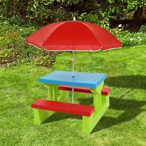 Sensational Details About Kids Childrens Picnic Bench Table Outdoor Garden Furniture With Parasol Download Free Architecture Designs Scobabritishbridgeorg