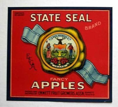 1920s Idaho State Seal Apple Crate Label Emmett Red Ebay