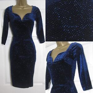 Vestido-de-fiesta-nueva-impresion-de-brillo-para-mujer-Quiz-Terciopelo-Bodycon-de-noche-azul-marino