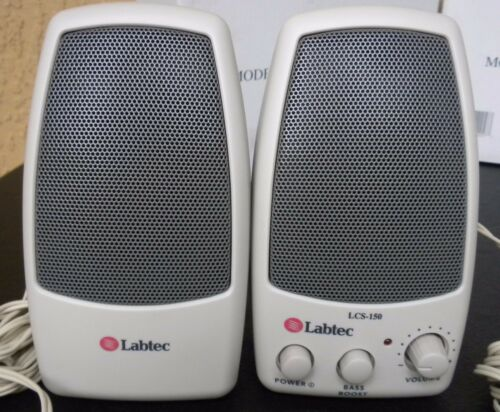 NEW LABTEC AMPLIFIED COMPUTER SPEAKERS LCS-150 with a compatible AC ADAPTER