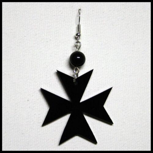 Orecchino Ciondolo Croce Stella Amalfi Malta Donna Plexiglass Pendente Nero 4 cm
