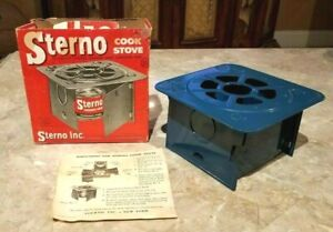 Vintage Sterno Folding Cook Stove No 33 + Instructions + Orig Box Camping Hiking