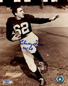 "Charley Trippi Signed 8x10 Stiff Arm B&W Photo W/"" HOF 68""  SCH Authentic"