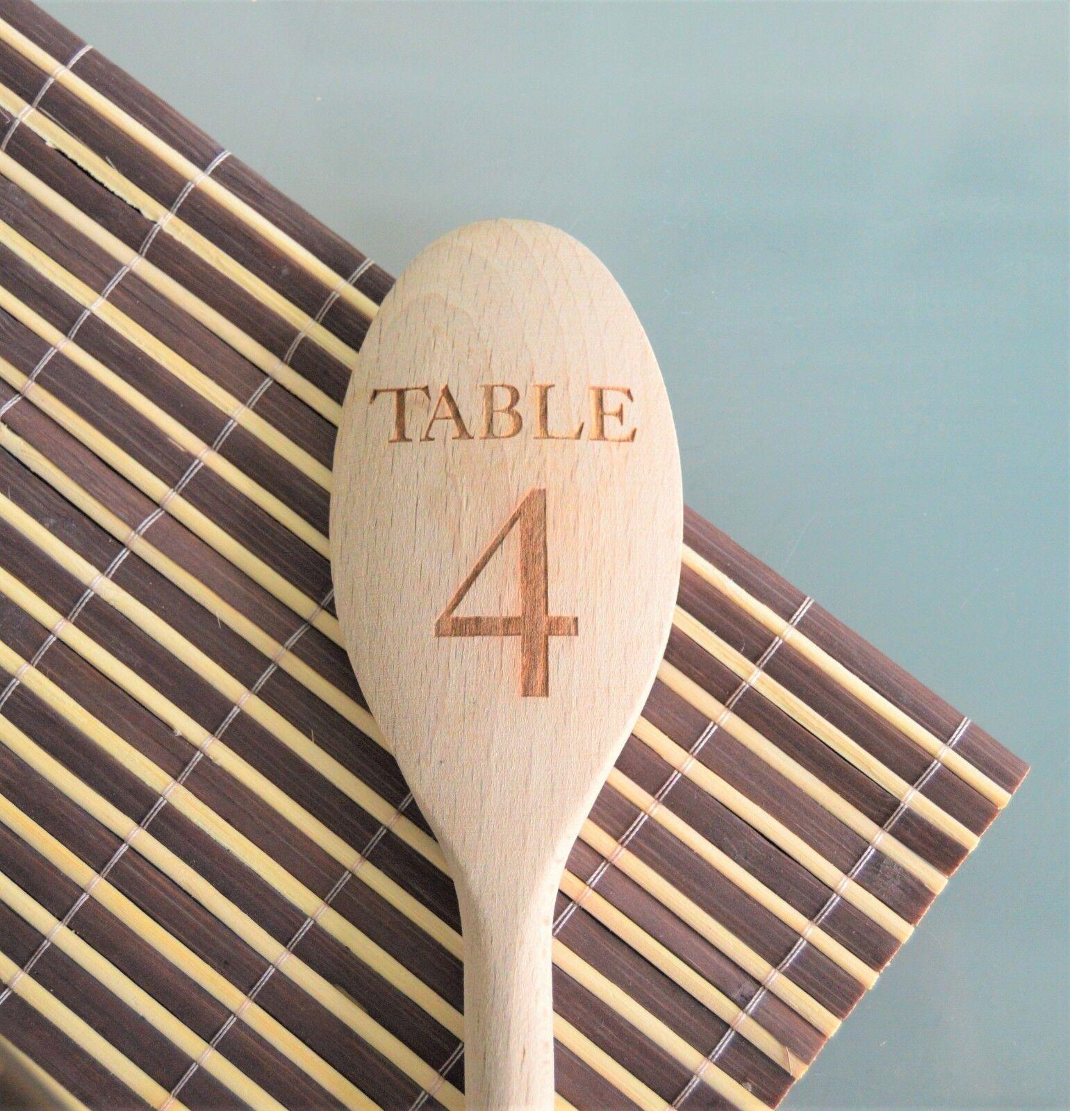 Engraved Wooden Spoon - Table Number Design for Weddings, Restaurants, Hotels