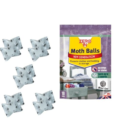 MOTH BALLS 10 Pack 3 Month Protection Pack ZERO IN STV New Generation Pack of 10