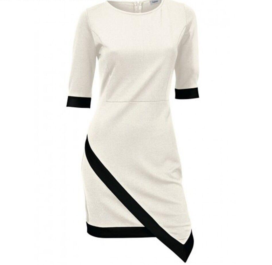 Kleid Clubkleid Party Coktail-Kleid ecru schwarz Gr.40