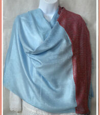 Paisley border Pashmina Silk blend Shawl, Wrap in skey blue red from India
