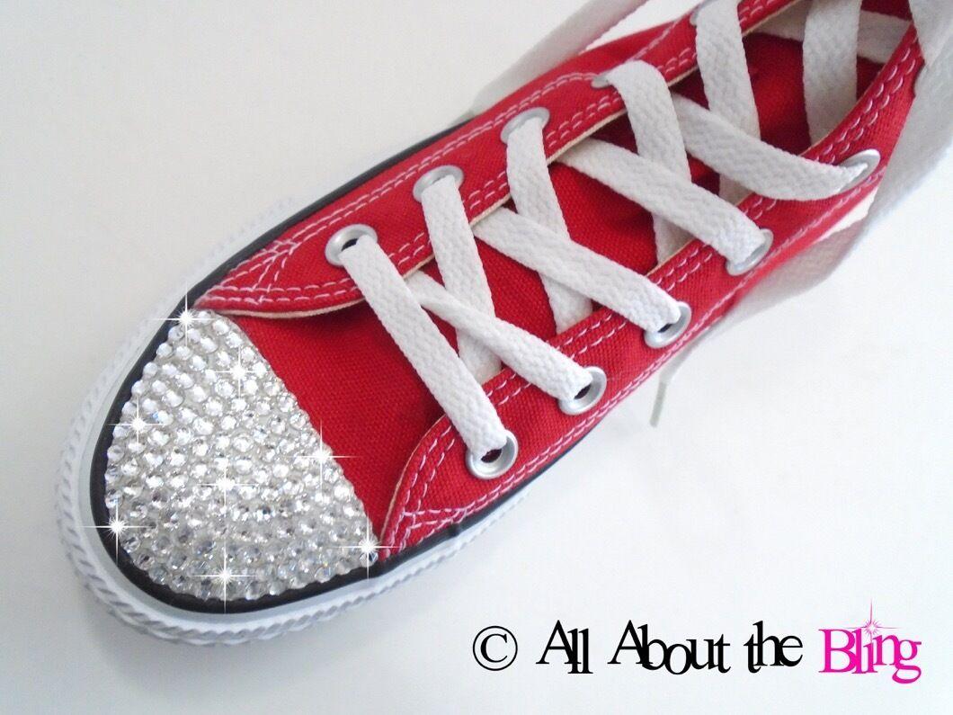 Converse all star rosso in in alto o in rosso basso al massimo con cristalli swarovski a9d4b2