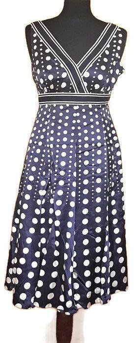 BNWT ❤️ Monsoon 100% Silk Blau Weiß Spots Dress Marguerite Größe 8 UK