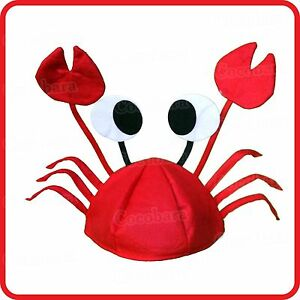 RED CRAB CRABS LOBSTER HAT CAP WITH EYES+CLAWS-CHELAE-DRESS UP-COSPLAY-COSTUME