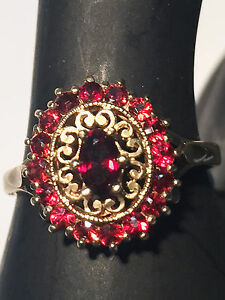 9ct-Solid-Yellow-Gold-Garnet-Cluster-Ring-inc-Valuation-815-BARGAIN-152527P