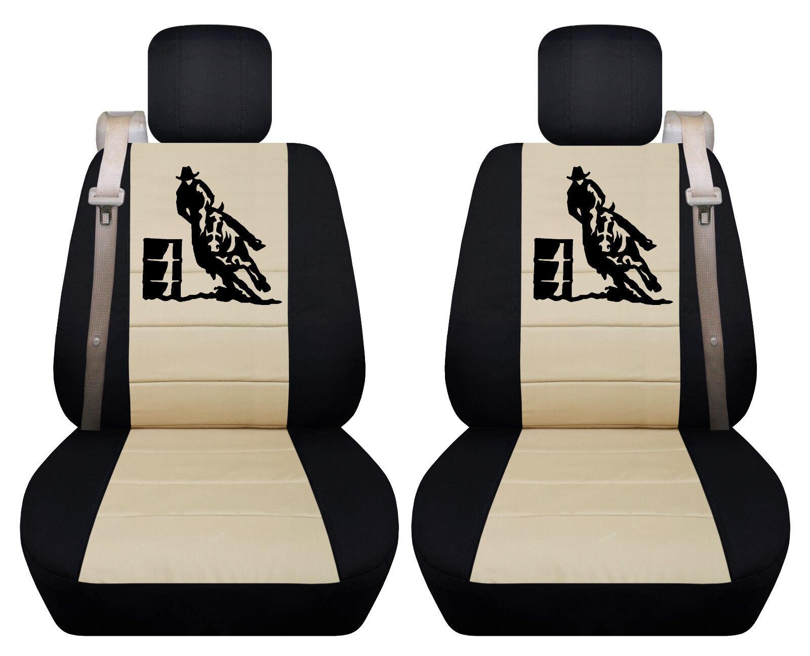 Fits Chevy trailblazer front car seat cover black-tan w//barrel racing//fleur...