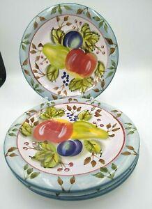 Heritage-Mint-034-Black-Forest-Fruits-034-10-1-2-034-Dinner-Plates-Fruit-Design-Lot-of-4