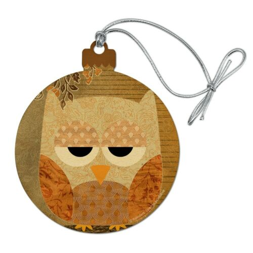 Sleepy Owl Antique Retro Wood Christmas Tree Holiday Ornament