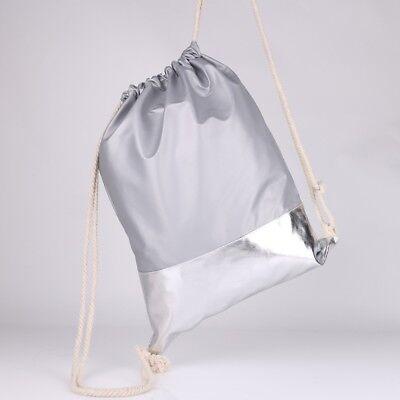 8ac1d3947a0b5 ... Metallic Streifen Rucksack Turn Beutel Tasche Gym Bag Grau Silber  Hipster ...