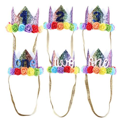 Number 1-3 Baby Princess Tiara Crown Kids Birthday Hat Sparkle Flower Style Hair