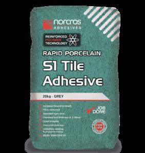 Norcros Rapid Porcelain S1 Tile Adhesive Grey 20kg