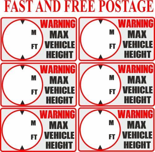 Hauteur Du Véhicule Autocollant Camion hauteur Avertissement Autocollant hauteur maximale Signe d/'avertissement
