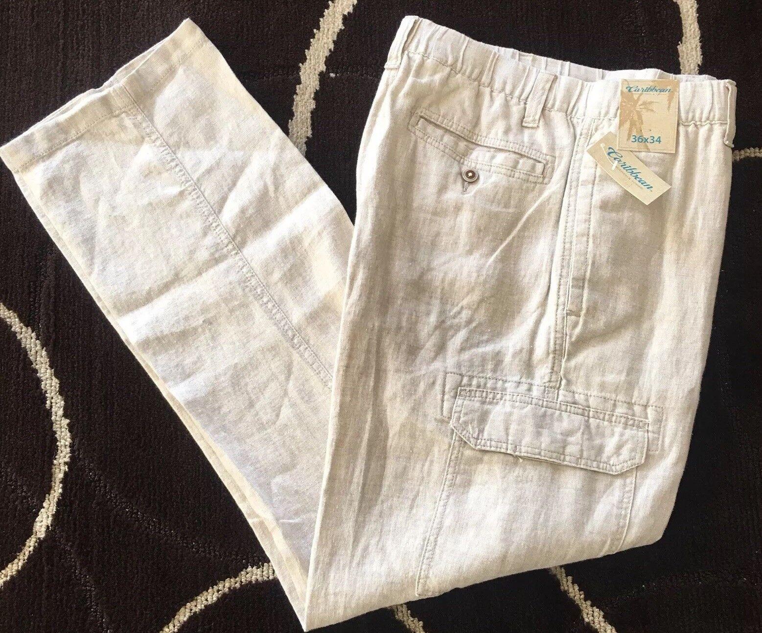 Caribbean Para Hombres Pantalones Cargo  natural 100% Lino 36x34 36 34 Nuevo con Etiquetas Ropa Playa  79+  barato y de moda