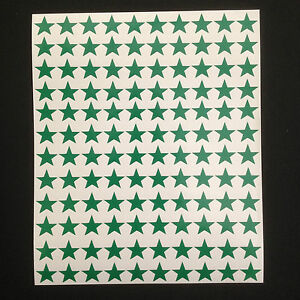 350-x-Green-Star-Shape-Peel-and-Stick-Self-Adhesive-Vinyl-Stickers-15-mm