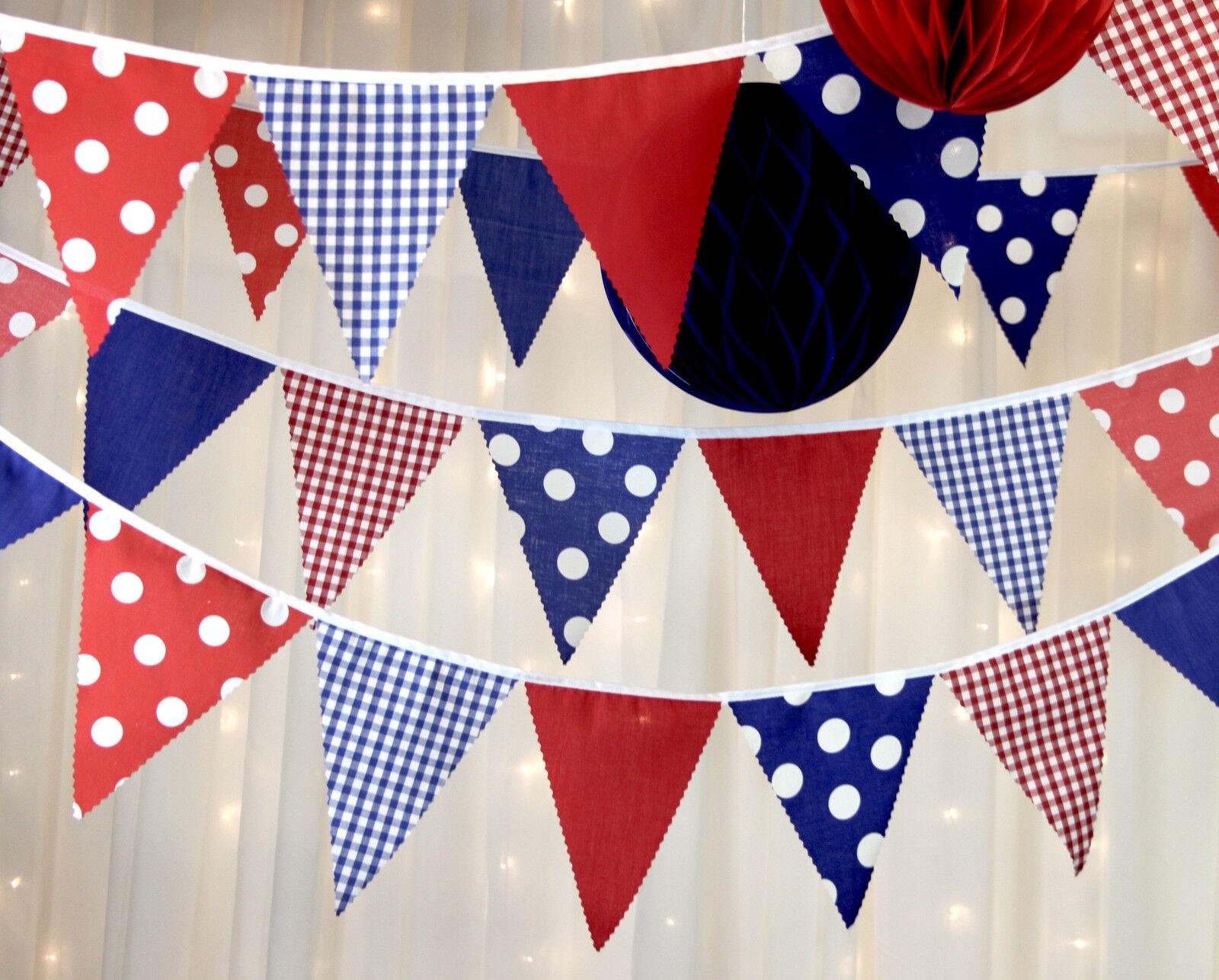 Nautique Gingham, Hut Bunting rouge, blanc bleu taches Gingham, Nautique mariages, douches bébé f2124a
