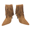 thumbnail 2 - Womens-Ladies-Tan-Faux-Suede-High-Heel-Fringe-Shoes-Ankle-Boots-Size-UK-8-New