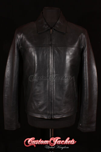 Men/'s CLASSIC COLLAR Black Casual Plain Simple Real Nappa Leather Jacket