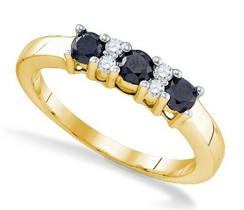 Pretty 100% 10K Yellow Gold 3-Stone Black & White Diamond Accent Ring Band .59ct