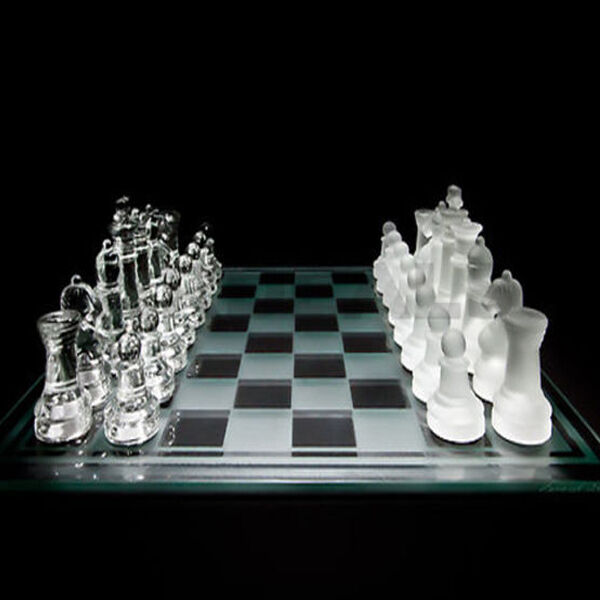 NEW 35CM X 35CM LARGE 32 PIECE GLASS CHESS SET WITH GLASS BOARD GAME
