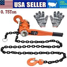 New Listing075ton Lever Block Chain Hoist Ratchet Type Come Along Puller 5ft Lifter Us