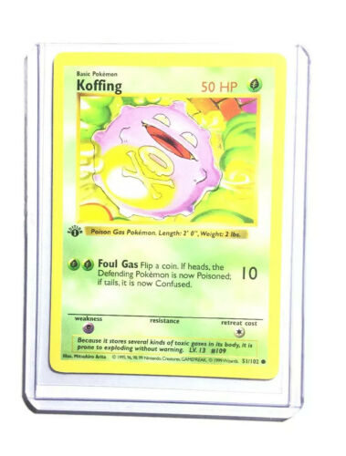 NM 1st edition Pokemon KOFFING Card BASE Set 51//102 First ed Shadowless WOTC