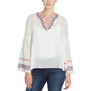 CATHERINE-MALANDRINO-NEW-Women-039-s-Embroidered-Sheer-Blouse-Shirt-Top-TEDO