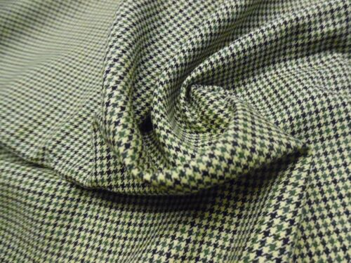 """LT.WEIGHT SUITING~HOUNDSTOOTH~MICRO PLAID~GREEN//CREAM//NAVY~DOLL FABRIC~18/""""x30/"""""""