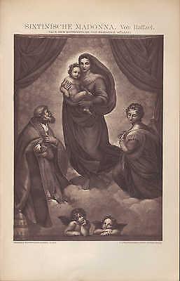 Licht-druck 1896: Sixtinische Madonna. Von Raffael. Nach Dem Kupferstich Bequemes GefüHl