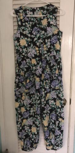 Laura Ashley Vintage Floral Cotton Jumpsuit Relaxe